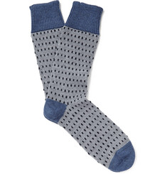 Corgi Dotted Wool and Cotton-Blend Socks