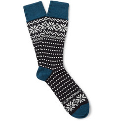 Corgi Fair Isle Wool and Cotton-Blend Socks