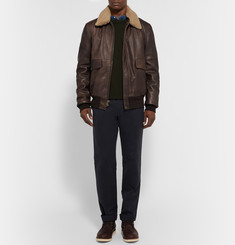Schott Shearling-Trimmed Leather Bomber Jacket