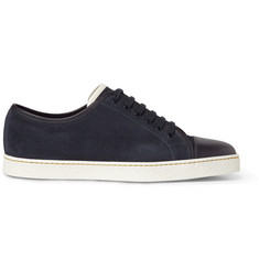John Lobb Leather-Trimmed Suede Low-Top Sneakers