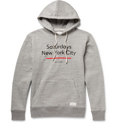 Saturdays NYC Ditch Standard Underline Printed Loopback Cotton-Jersey Hoodie
