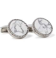 TATEOSSIAN Rhodium-Plated Howlite Cufflinks