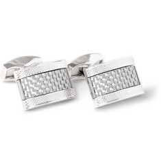 TATEOSSIAN Rhodium-Plated Carbon Fibre Cufflinks