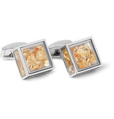 TATEOSSIAN Pandora's Box Rhodium-Plated and 22-Karat Gold Leaf Cufflinks