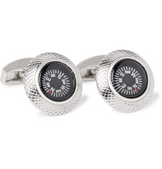 TATEOSSIAN Compass Rhodium-Plated Cufflinks