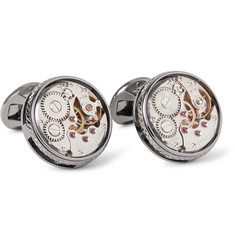 TATEOSSIAN Skeleton XXV Gunmetal-Plated Topaz Cufflinks