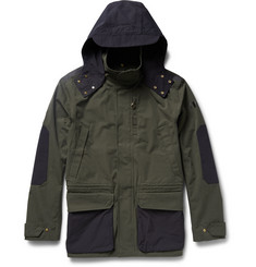 The Workers Club Two-Tone Hooded Cotton-Canvas Jacket
