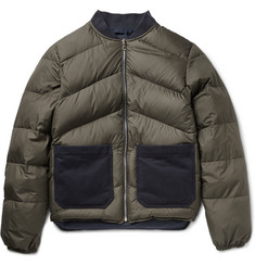 The Workers Club Reversible Cotton Drill-Trimmed Quilted Down Bomber Jacket