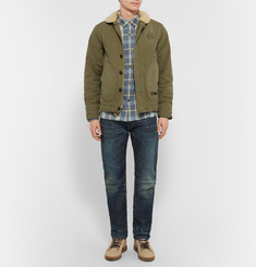 Neighborhood Slim-Fit Faux Shearling-Trimmed Woven Cotton Deckhand Jacket