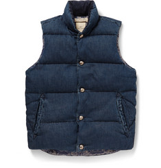 Remi Relief Quilted Washed-Denim Gilet