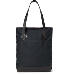Club Monaco Leather-Trimmed Cotton-Canvas Tote