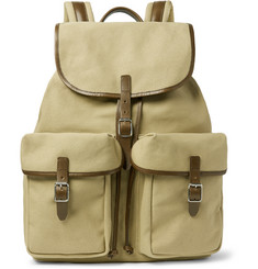 Club Monaco Leather-Trimmed Canvas Backpack