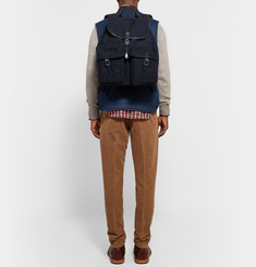 Club Monaco Leather-Trimmed Cotton-Canvas Backpack