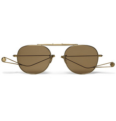 Garrett Leight California Optical Van Buren Folding Aviator-Style Metal Sunglasses
