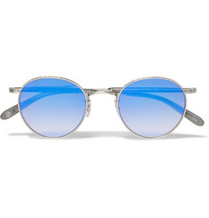 Garrett Leight California Optical Wilson Mirrored Round-Frame Sunglasses
