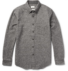 Club Monaco - Slim-Fit Striped Slub Cotton-Flannel Shirt