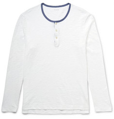 Club Monaco Chambray-Trimmed Slub Cotton-Jersey Henley T-Shirt
