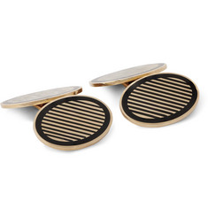 Foundwell Vintage 1950s 14-Karat Gold and Enamel Cufflinks