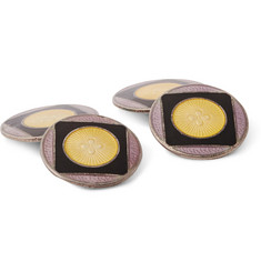 Foundwell Vintage 1930s Sterling Silver and Vitreous Enamel Cufflinks