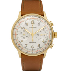 Junghans Meister Telemeter Chronoscope Gold-Tone Stainless Steel and Leather Watch