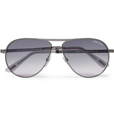 Tom Ford Marko Aviator-Style Gunmetal and Acetate Sunglasses