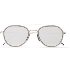 Thom Browne Metal and Acetate Mirrored Aviator Sunglasses