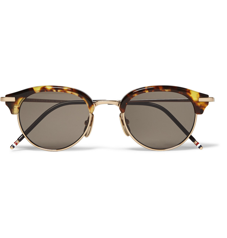 Round Frame Tortoiseshell Acetate and Gold Tone Metal Sunglasses Brown