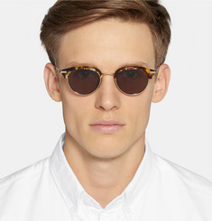 Thom Browne Round-Frame Tortoiseshell Acetate and Gold-Tone Metal Sunglasses
