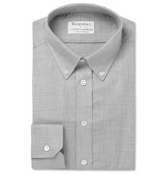 Kingsman + Turnbull & Asser Grey Mélange Brushed-Cotton Shirt