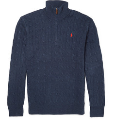 Polo Ralph Lauren Half-Zip Cable-Knit Silk Sweater