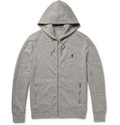 Polo Ralph Lauren Zip-Up Ribbed Cotton-Blend Jersey Hoodie