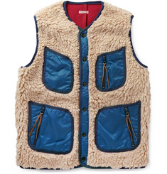 KAPITAL Shell-Trimmed Faux Shearling Vest