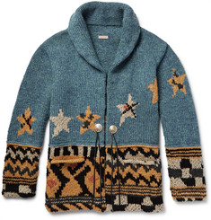 KAPITAL - Shawl-Collar Intarsia Wool-Blend Cardigan