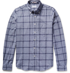 Gant Rugger - Slim-Fit Windowpane-Checked Mélange Cotton Shirt