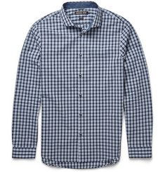 Michael Kors Slim-Fit Cutaway-Collar Checked Cotton Shirt
