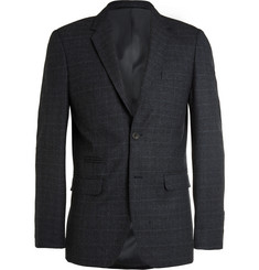 NN07 - Navy Soho Slim-Fit Checked Wool Suit Jacket
