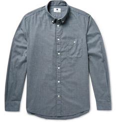 NN07 New Derek Slim-Fit Puppytooth Brushed Cotton-Flannel Shirt