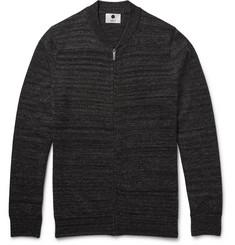 NN07 Jake Mélange Merino Wool-Blend Zip-Up Cardigan