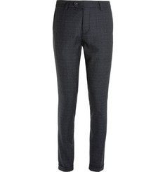 NN07 Navy Soho Slim-Fit Checked Wool Suit Trousers
