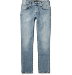 Nudie Jeans Grim Tim Skinny-Fit Washed Organic Stretch-Denim Jeans