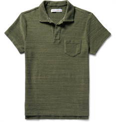 Orlebar Brown Slim-Fit Open-Collar Mélange Cotton-Terry Polo Shirt