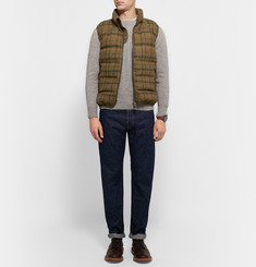 Aspesi Quilted Checked Harris Wool-Tweed Down Gilet