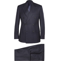 Kingsman - Navy Double-Breasted Pinstriped Wool and Cashmere-Blend Suit