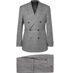 Kingsman Grey Slim-Fit Double-Breasted Prince of Wales Checked Suit