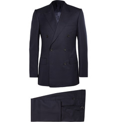 Kingsman Navy Double-Breasted Super 120s Wool and Cashmere-Blend Suit