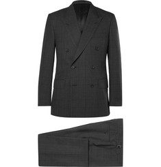 Kingsman - Charcoal Slim-Fit Windowpane-Checked Wool Suit