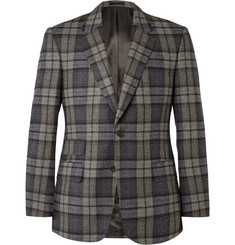 Kingsman Grey Slim-Fit Checked Wool Blazer