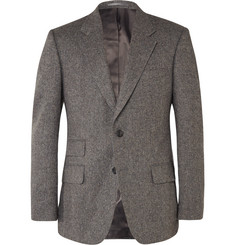 Kingsman Grey Slim-Fit Herringbone Wool Blazer