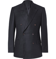 Kingsman Navy Slim-Fit Double-Breasted Brushed-Cashmere Blazer