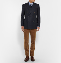 Kingsman - Navy Slim-Fit Double-Breasted Brushed-Cashmere Blazer